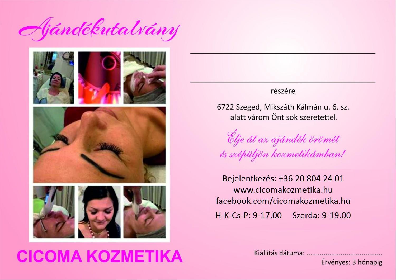 Cicoma ajándékutalvány - Cicoma Kozmetika Szeged